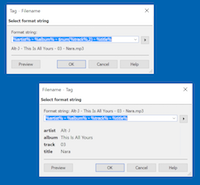 Powerful settings for converting filenames and tags